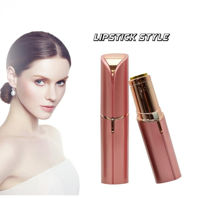 Rechargeable Mini Painless Face Hair Remover Gold Plated Lipstick Shaped