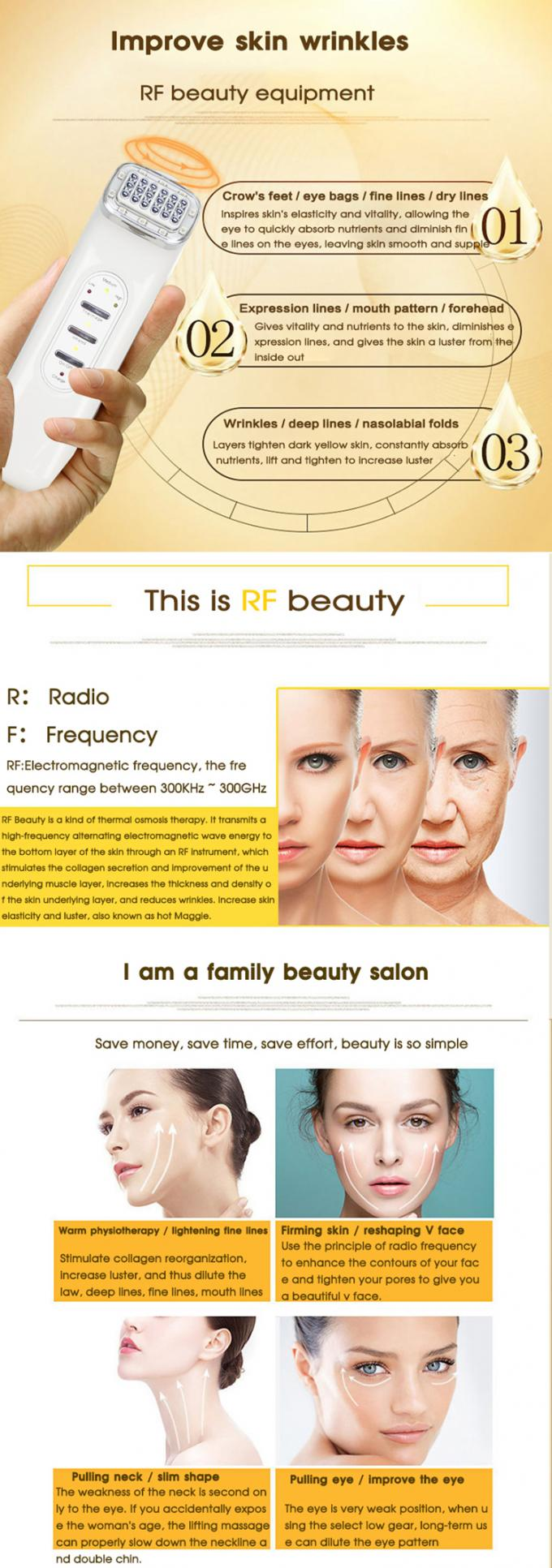 Portable Radio Frequency Face Lift Machine Fade Dark Circles & Neckline Beauty