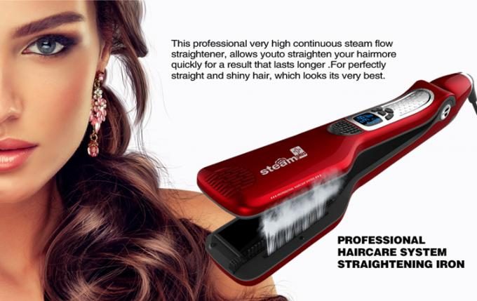 Portable Home Hair Straightener , Electric Ion Titanium Ceramic Flat Iron Hair Steam Brush