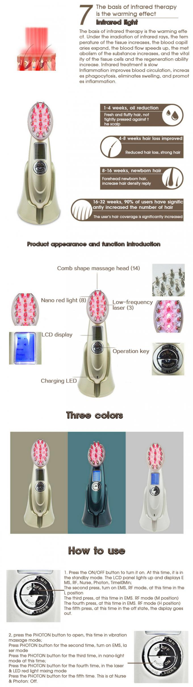 RF Electric Infrared Ray Hair Regrowth Laser Comb Portable Home Beauty Machine